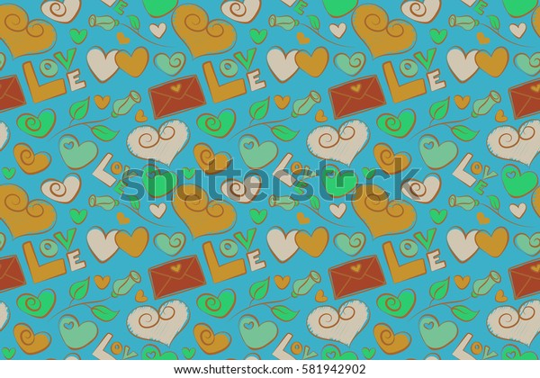 Raster seamless Valentine pattern with different hearts and rose flower. Abstract background in brown, green and yellow colors. Valentines day background.