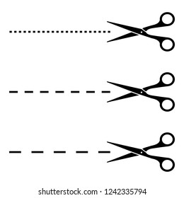 Raster set of black scissors with cut lines on white background