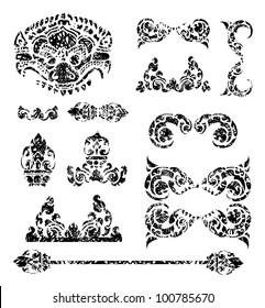 RASTER set of grunge Cambodian floral pattern