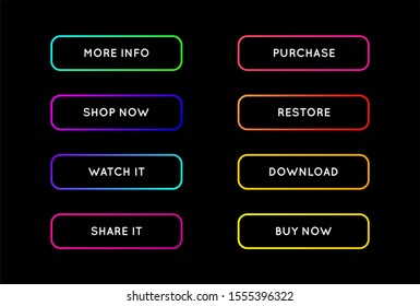 Raster Set of Modern Neon App or Game Buttons. Trendy gradient neon colors.