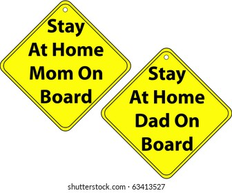 Raster Set of Stay at Home Mom and Dad Signs
