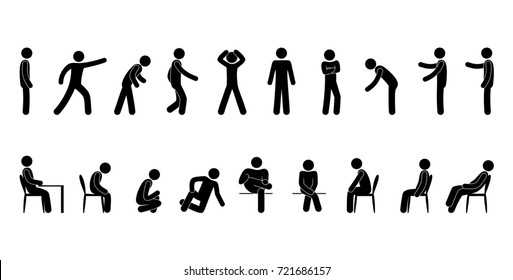 raster set of stick figure people in different poses