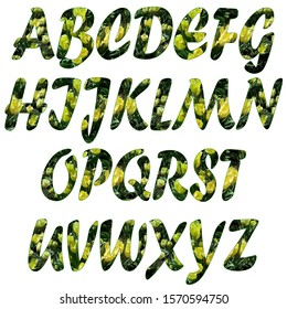 Raster set of textured letters of the Latin alphabet. Natural floral texture, stroke. Yellow tulips, green leaves on dark. Isolated letters on a white background.
