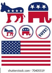 Raster Set of United States Political Party Symbols