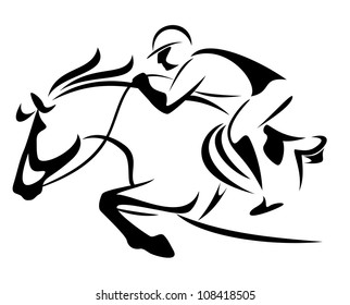 raster - show jumping emblem - black and white outline of horse and jockey (vector version is available in my portfolio)