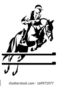 raster - show jumping horseman design - black and white equestrian sport emblem (additional format also available)