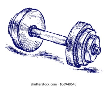 Raster sketch dumbbell weight