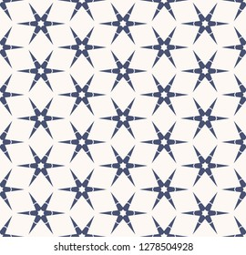 Raster snowflakes geometric texture. Abstract minimal seamless pattern with floral silhouettes, stars, edgy shapes. Simple deep blue and white background. Winter holiday theme. Modern repeat design