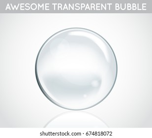 Raster Soap Water Bubbles. Transparent Isolated Realistic Design Elements. Can be used with any Background.