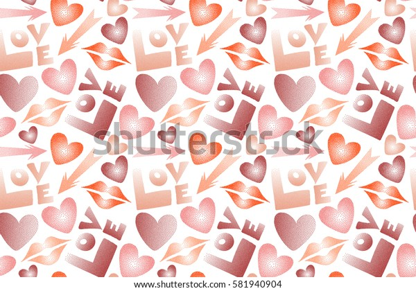 Raster stock illustration in red, pink and orange colors. Love word, hearts and lipstick kiss seamless pattern on white background.