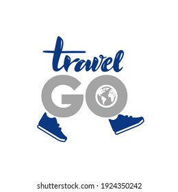 Raster, stock, isolated logo illustrations, square shape - travel go. Text depicting sneakers and a globe. A call to develop through movement, for health.