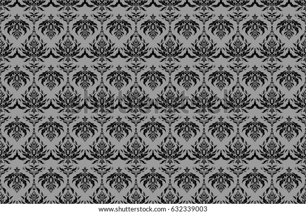 Raster stylish ornament. Damask seamless pattern in gray and black colors. Royal wallpaper with abstract flowers.