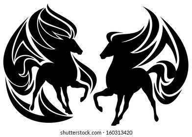 raster - tribal horse black and white design (additional format also available)