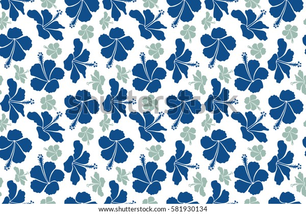 Raster of tropical hibiscus flowers in neutral and blue colors with watercolor effect on white background.
