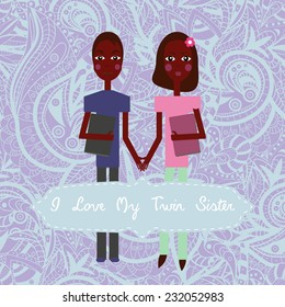 Winter Twins Love My Twin Sister Stock Vector Royalty Free