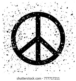 Raster Typography Design of Print with Peace Sign Silhouette on Grunge Background