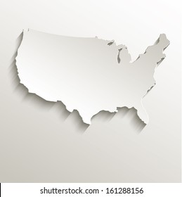 raster USA map card paper 3D natural