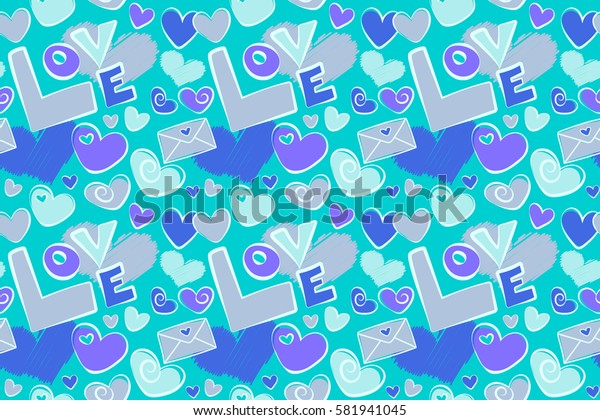 Raster Valentine Day design for greeting card. Hand drawn sketch heart art of marker or felt-tip pen drawing for Valentines card. Blue and violet hearts, love text and letter seamless pattern.