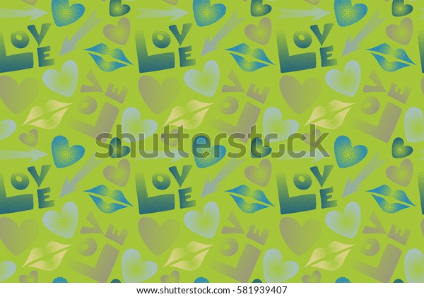 Raster Valentine's day symbols in green and blue colors. Seamless pattern with arrow, hearts, kissing lips, love text in dots.