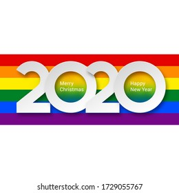 Raster version. 2020 New Year Numeral Text Lettering on Bright Colorful Rainbow Background Design Template. Greeting Card, Banner or Invitation for Creative Idea