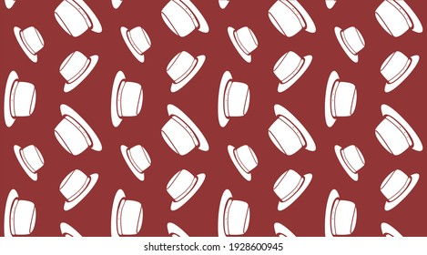 Raster version of Abstract background white hats on red. Autumn casual hat seamless pattern. Creative concept background. Woman Hat simple icon texture from Accessories collection. Autumn items.