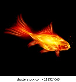 Raster version. Abstract Burning fish, Illustration on black background