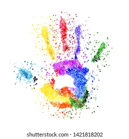 Raster version. Abstract Colorful Handprint of Dots. Rainbow Colors Dots Shape of a Hand and Fingers on White Background