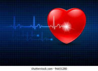 Raster version. Abstract Heart Monitor on a Dark Blue Background