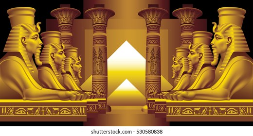 Raster version / Alley of Sphinxes on a black background