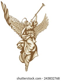 Raster version / Angels with trumpets, looking up. In three colors on a white background
