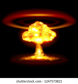 Raster version. Atomic, Nuclear, or Hydrogen Bomb Realistic Explosion Causing Shock Waves in Yellow Color on Black Background for Game Design