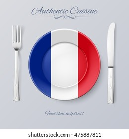 Raster version. Authentic Cuisine of France. Plate with French Flag and Cutlery