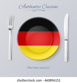 Raster version. Authentic Cuisine of Germany. Plate with German Flag and Cutlery