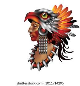 Raster version / Aztec warrior Eagle on white background