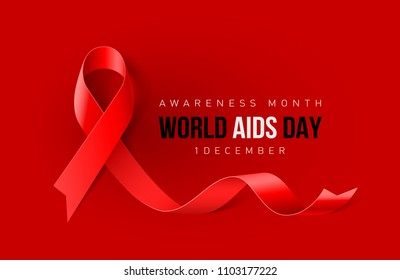 Raster version. Banner with Aids Awareness Realistic Red Ribbon. World AIDS Day Concept on Red Background. Design Template for Info-graphics, Advertising or Websites Magazines
