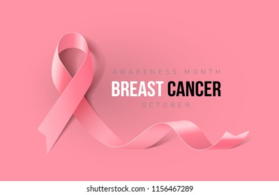Raster version. Banner with Breast Cancer Awareness Realistic Ribbon. Design Template for Info-graphics or Websites Magazines on Pink