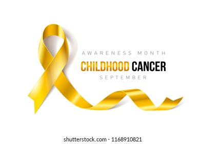 Raster version. Banner with Childhood Cancer Awareness Realistic Ribbon. Design Template for Info-graphics or Websites Magazines