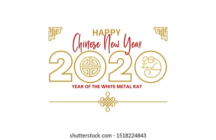 Raster version. Banner, money envelope with a illustration of the rat zodiac sign, symbol of 2020 on the Chinese calendar, isolated. White Metal Rat, chine lucky. Element for New Year's design.