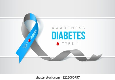 Raster version. Banner with Symbol of Diabetes Type One Awareness Realistic Ribbon. Design Template for Websites Magazines