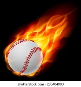 Raster version. Baseball on fire. Illustration on black background