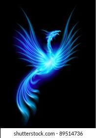 Raster version. Beautiful Blue Burning Phoenix. Illustration isolated over black background