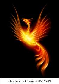 Raster version. Beautiful Burning Phoenix. Illustration isolated over black background