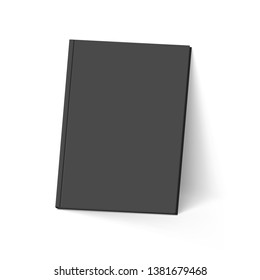 Raster version. Black Book. Illustration on White. Mockup Template