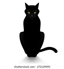 Raster version. Black cat isolated on a white background