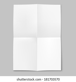 Raster version. Blank sheet of paper folded in four on grey background