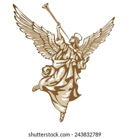 Raster version / Blowing angel, running across the sky. In three colors on a white background