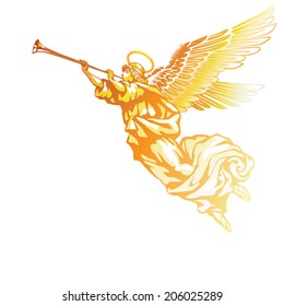 Raster version / Blowing golden angel on white background