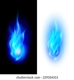 Raster version. Blue fire flames over contrast black and white backgrounds