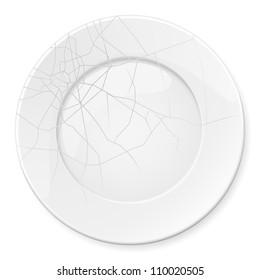 Raster version. Broken Plate. Illustration for design on white background