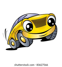 Raster version. The cartoon car with smile
